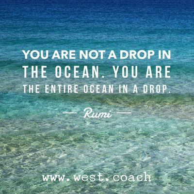 INSPIRATION - EILEEN WEST LIFE COACH | You are not a drop in the Ocean.  You are the entire ocean in a drop. - Rumi | Life Coach, Eileen West Life Coach, inspiration, inspirational quotes, motivation, motivational quotes, quotes, daily quotes, self improvement, personal growth, live your best life, freedom, Rumi, Rumi quotes, ocean