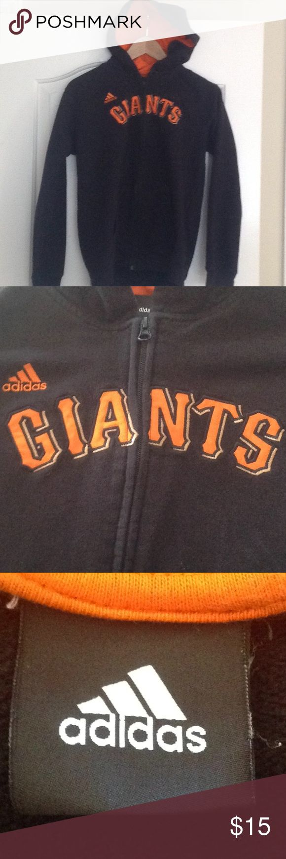 Adidas GIANTS zip up hoodie Youth L SF GIANTS zip up hoodie sweatshirt. Black with orange inside the hood.  Giants appliqué on front.  55% cotton/45% polyester.  In very good condition.  Unisex Youth Large. adidas Shirts & Tops Sweatshirts & Hoodies