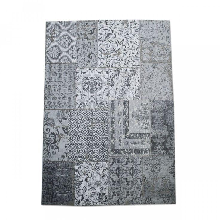 Vloerkleed/carpet patchwork grijs 170 x 240 uit de By-Boo collectie ook leverbaar in 200 x 300 in meerdere kleuren verkrijgbaar