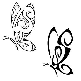 Maori styled butterfly. Butterflies represent beauty, lightness and transformation.