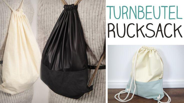 Trägst du lieber Rucksack als Tasche und hast Lust dir einen Turnbeutel Rucksack selber zu nähen? Diese Anleitung ist auch für Anfänger. Einfach und super st...