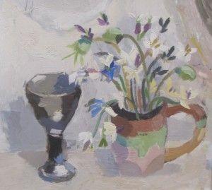 Julian Bailey Rocket and poppies in handmade jug