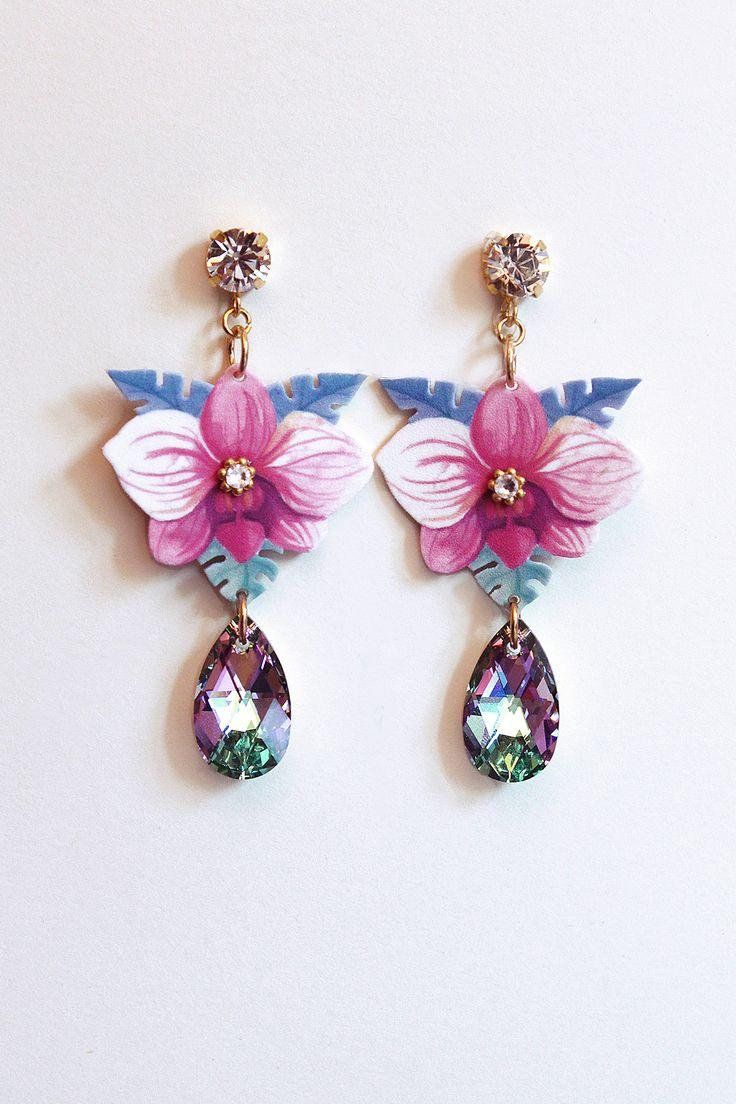 Orchid earrings from Tropicana FW14 collection by Luli Art Bijoux #jewelry #luliartbijoux #earrings #swarovski