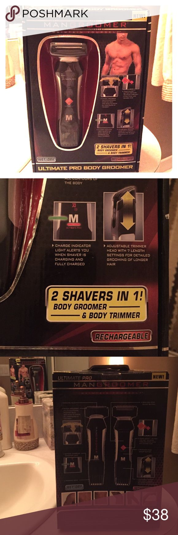Man groomer shaver Ultimate Pro Man Groomer 2 in 1 shaver. Wet/dry, shower safe, adjustable trimmer, and it's rechargeable with stand. New in box. Man Groomer Other