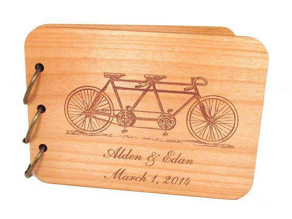 Tandem Bike Wedding Guest Book Engraved Bicycle Wooden Cover
