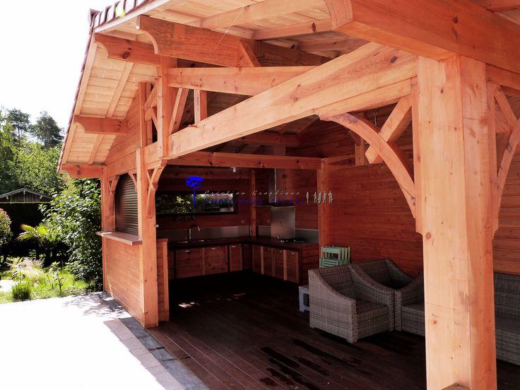 Conception de pool house et cuisine d'été en ossature bois style Arcachon.