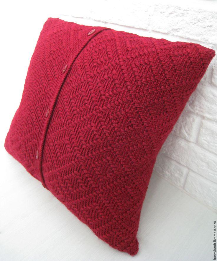 """Купить Подушка """"Уютная геометрия"""" - бордовый, вязаная подушка, подушка декоративная, подушка на диван"""