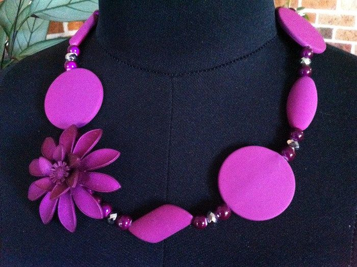 Deep Purple Handmade Beaded Necklace, 54cm by IvyMaysDesigns on Etsy