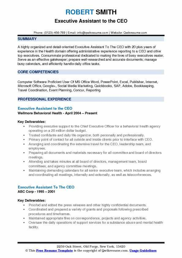 Executive Assistant To The Ceo Resume Example Administrative Assistant Resume Executive Assistant Resume Summary