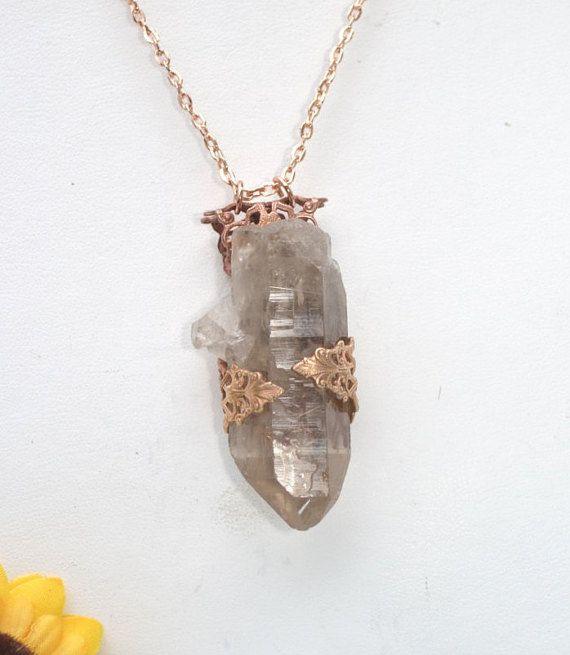 Collana di cristallo di quarzo   Boho   Collana di cristallo   Cristalli curativi   Gioielli di cristallo   Ciondolo   Fatti a mano   Hippy   Gypsy