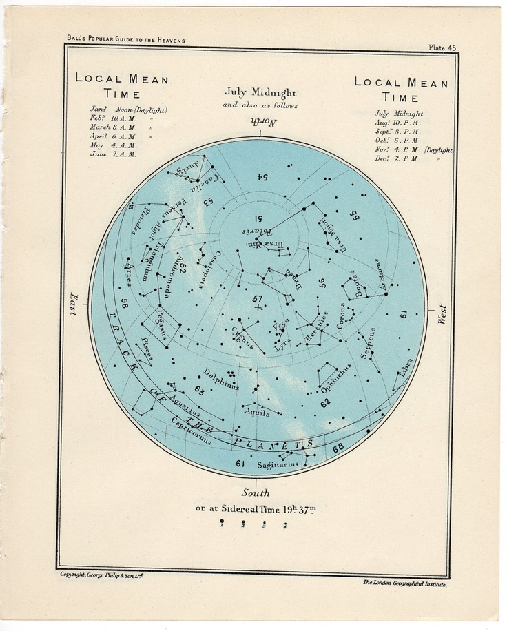1955 july or august vintage star map celestial print. $25.00, via Etsy.