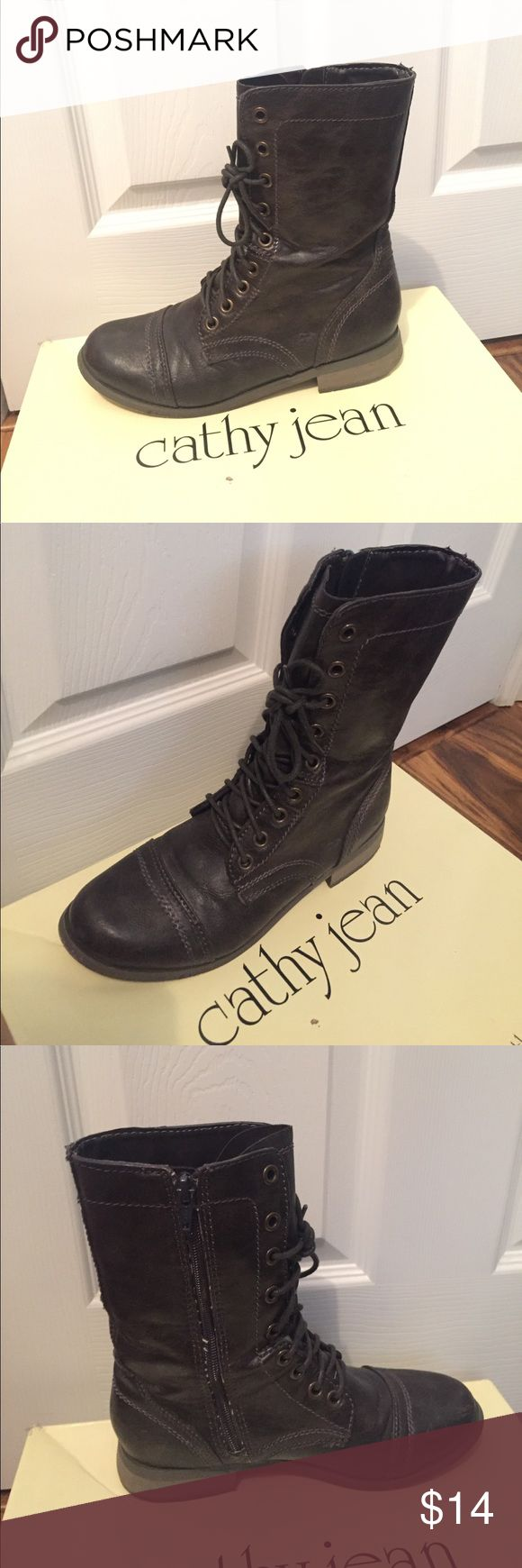 Boots size 7.5 Dark brown. I just did a price reduction! Price is firm, don't send me offers (they will be declined) this is the lowest that I will go Cathy Jean Shoes Lace Up Boots