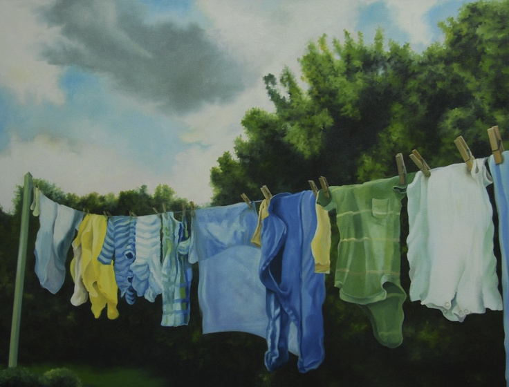 June Laundry, oil on canvas