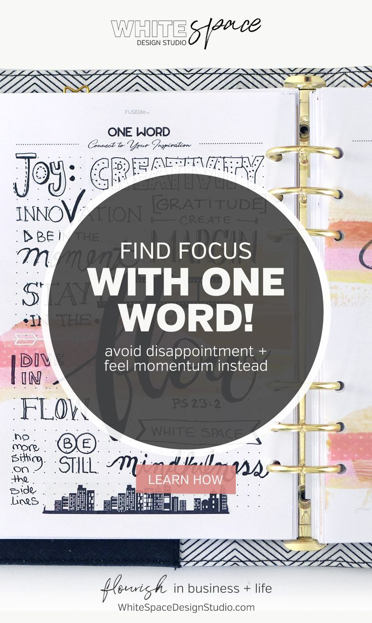 FIND FOCUS WITH ONE WORD - WhiteSpace Design Studio | How to find focus using one word to guide you in the year ahead >>> Be inspired and create a vision board with FUSElife Classic Planner pages in Kikki,K binder. | whitespacedesignstudio.com #flourishwithwhitespace #plannerprintables #planning #productivity