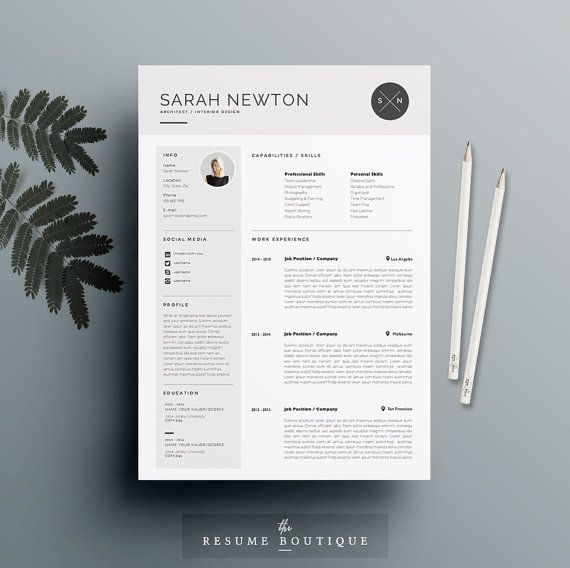 "Resume Template and Cover Letter Template for Word | DIY Printable 3 Pack | The ""Moonlight"" 