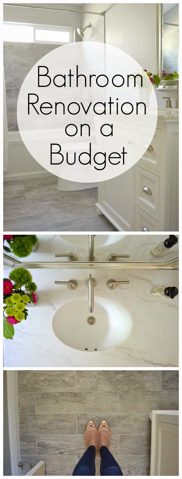 A total transformation on a budget! This bathroom renovation went from 80's drab to fab. Koehler Archer soaking tub