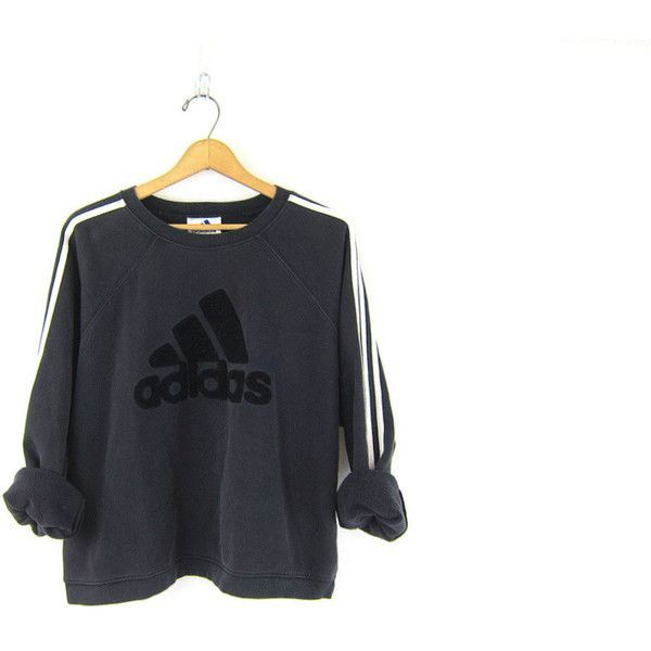 90's Vintage ADIDAS sweatshirt. faded black slocuhy sweatshirt Sporty... ($29) ❤ liked on Polyvore featuring tops, hoodies, sweatshirts, grunge, vintage tops, sports sweatshirts, adidas sweatshirt, sport sweatshirts and striped pullover
