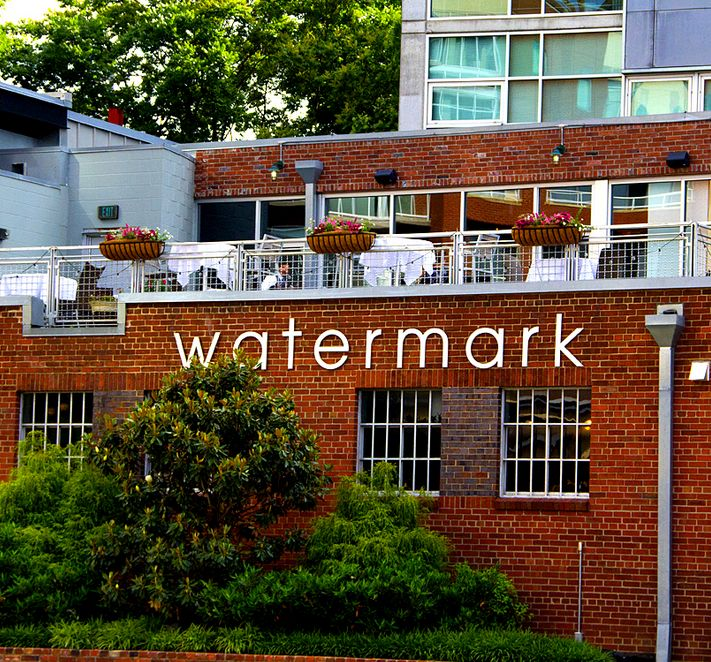 You can see the rooftop dining, right above the Watermark signage. The rooftop faces to the east, across the Gulch into downtown Nashville.