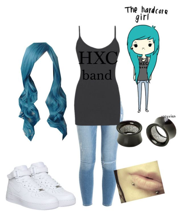 """""""the hardcore girl"""" by laughing-jack5 ❤ liked on Polyvore featuring Frame, Hot Topic, BKE core and NIKE"""