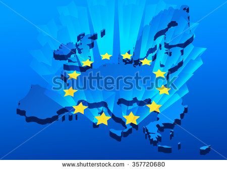 Europe Union map background with shining stars