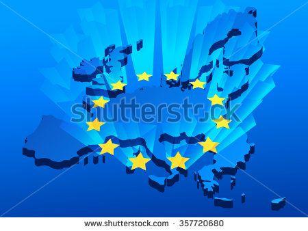 Europe Union map background with shining stars