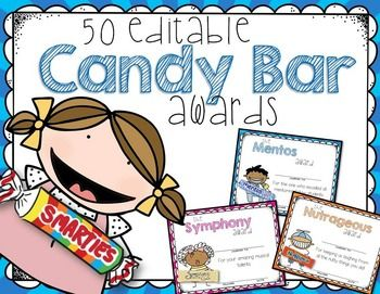 OVER FIFTY Colorful EDITABLE Candy Bar Superlative Awards for the End of School.  I love this style of kids for the certificates and I think your kids will, too!  Each candy bar was hand-drawn for a personal touch!  The awards are made for both girls and boys.