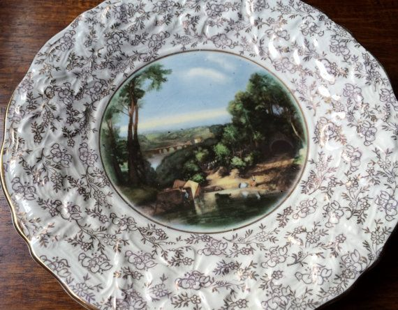Crossing The Brook Turner Plate by James Kent Longton. Collectible Vintage Plate. Gold Band, Raised Floral and Gold Filigre Design.  VCH0041