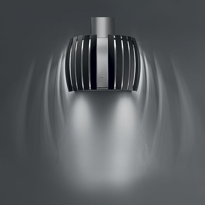 Design+ Prestige. The Queen of cooker hood, with curved tempered glass.