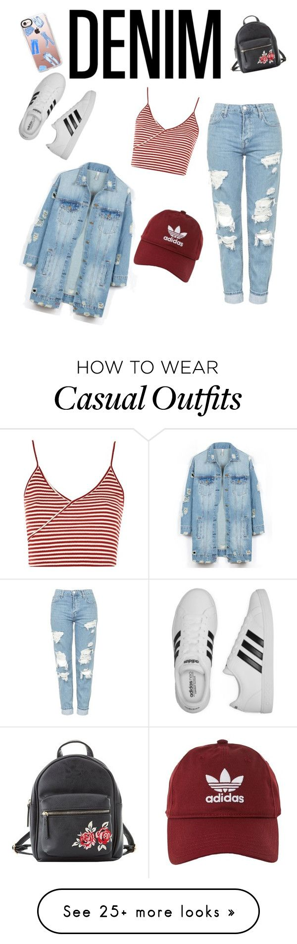 """""""denim casual"""" by luula5 on Polyvore featuring Topshop, adidas, LE3NO, Casetify and Charlotte Russe"""