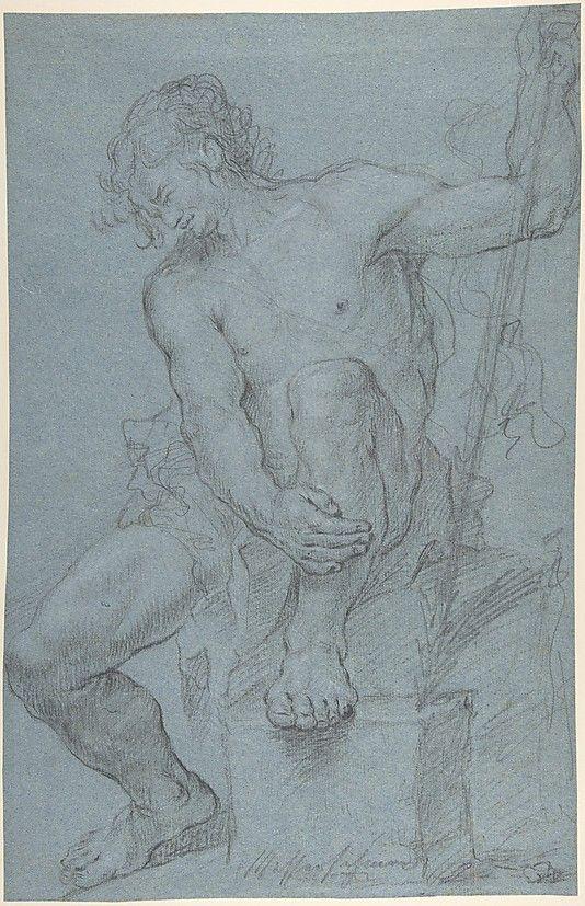 Seated Male Nude Holding a Staff  Franz Xaver Messerschmidt (German, Weisensteig 1736–1783 Pressburg)