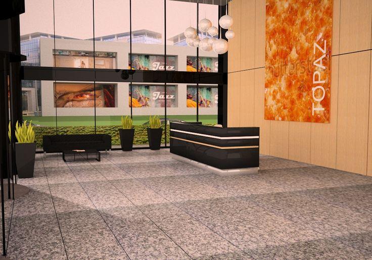 Projekt  recepcji w strefie wejściowej dla Biurowca Topaz / Project of the reception for the office building Topaz