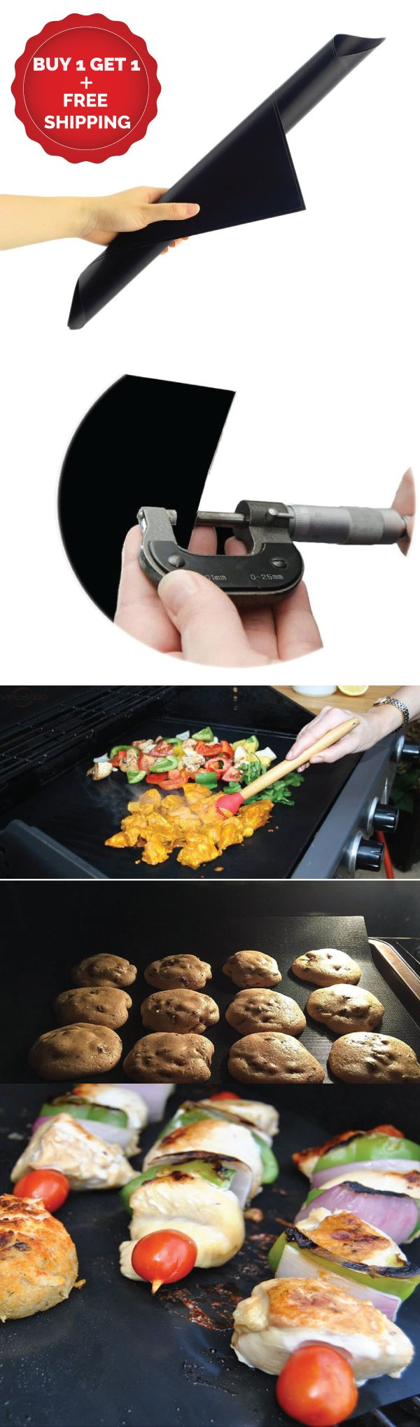 BBQ Grill Mats Nonstick Sheet (Buy1-Get1 Set) They are made from the highest grade non-stick material.  100% PFOA free premium FDA approved PTFE coating just like your favorite nonstick pan. They are specially designed to cook your food evenly in temperatures up to 500°F. Easily cut the BBQ sheets to any size or shape to fit your needs. Use as a cooking sheet, vegetable basket, aluminum foil pan liner, baking sheet, microwave liner, drip catcher, camp grill, and of course a grilling mat.