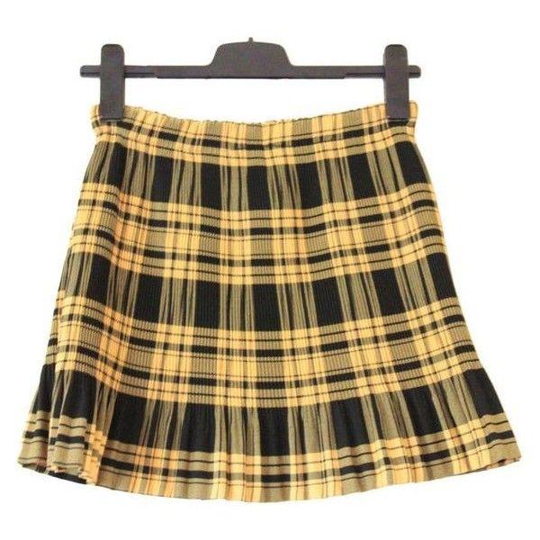 90s plaid pleated skirt, black yellow, high waist rise checkered tarta ❤ liked on Polyvore featuring skirts, mini skirts, yellow skirt, high-waist skirt, high-waisted skirts, short mini skirts and plaid pleated mini skirt