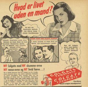 'Hvad er livet uden en mand?' Colgate-reklame 1950'erne