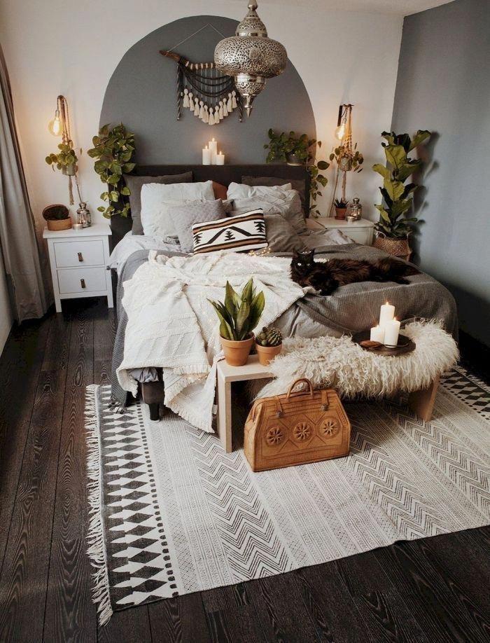 exemple de deco chambre boheme avec objets ethniqu…