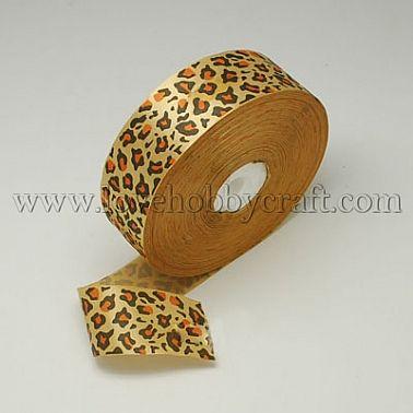satin ribbon-leopard print