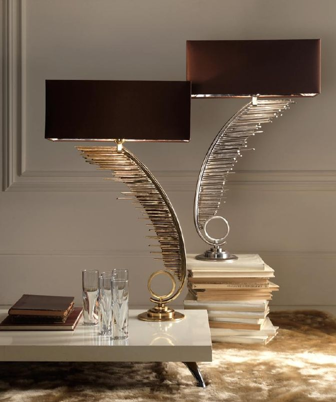 Luxury designer gold silver plated feather table lamps sharing luxury