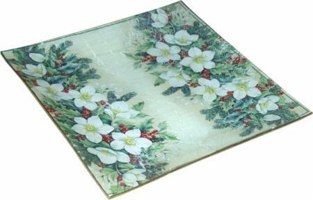 bandeja de navidad poinsetias bandeja de navidad cristal,papel de arroz,pinturas acrilicas decoupage