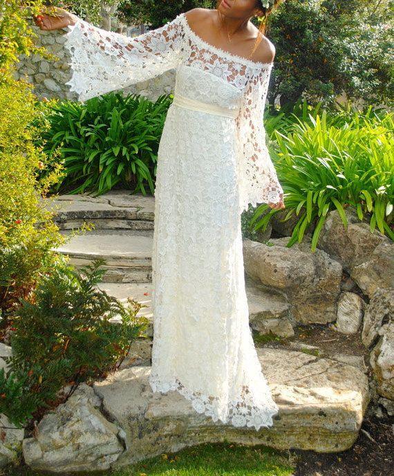 Vintage Inspired Bohemian Full-Length Lace Scoop Full Sleeves Zipper Hippie Wedding Dress Boho Maxi Lace Dress