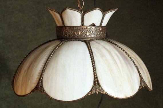 Lovely Vintage TIFFANY Style Stained Slag Glass Ceiling LAMP Wall Mount Tulip Shaped Chandelier