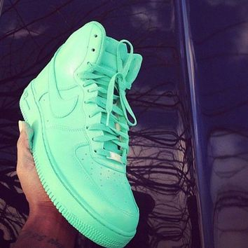 New Custom Painted All Mint All Sizes Nike Air Force 1's High wanelo.com/shop/custom-air-force-1  169.99