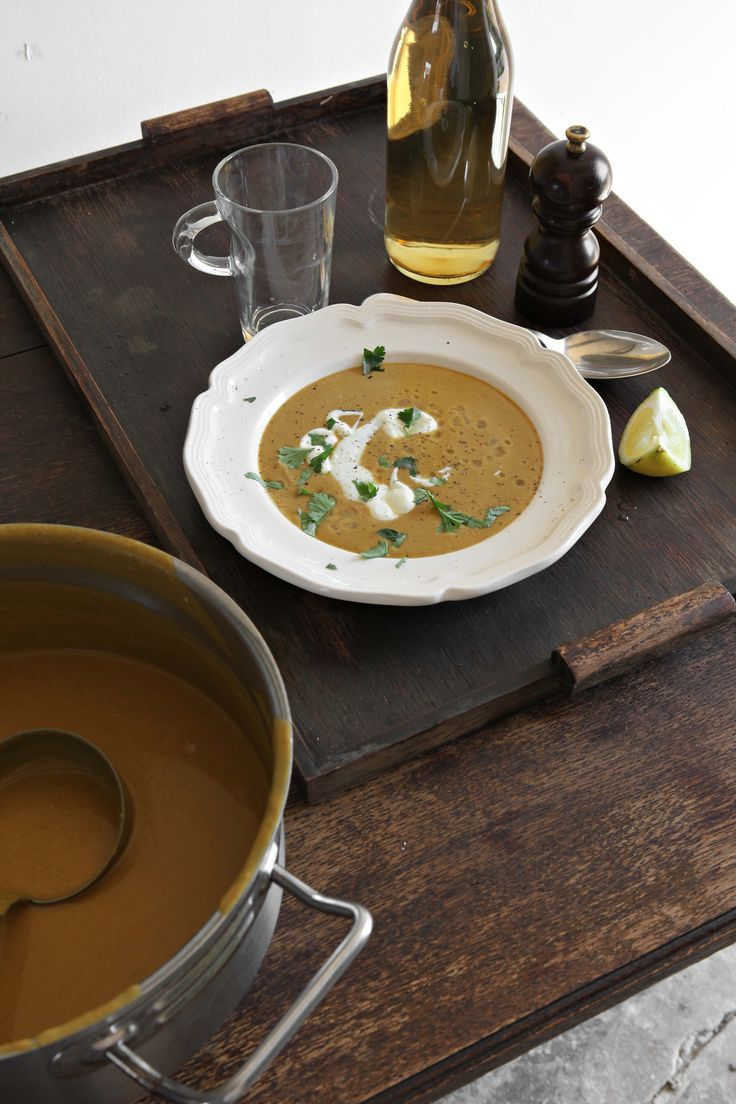 This is a warming soup for a cold evening, the heat of the spices softened by the sweetness of the coconut milk and lime.