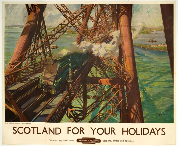 Scotland for your holidays. Artwork by Terence Cuneo, 1952. Cuneo was already well known as a poster artist when he was asked by British Railways to paint an image of the Forth Bridge for a new poster. The date was 6 February 1952 and the weather was terrible. Cuneo had to climb up the bridge structure dressed in long woollen underwear, a flying suit and a duffle coat to find the ideal position to make his sketch, as trains passed below him. Several times he was nearly blown off the bridge…