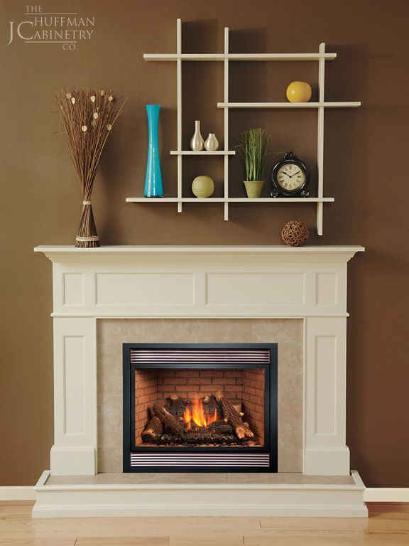 Value Series Mantel Madison Paint Grade Wood With Dover White Finish Bluff  Beige Tile Package