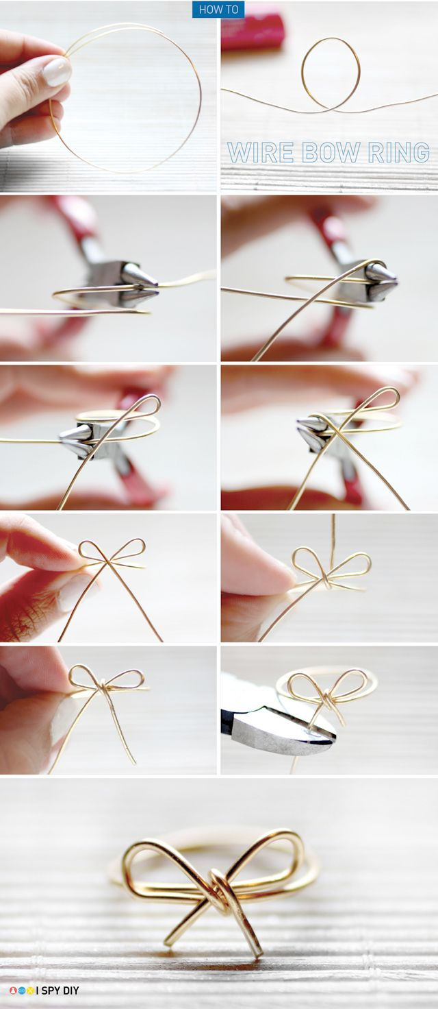 wire bow ring - I've done this before! A cute and inexpensive idea, which also goes good with any outfit!