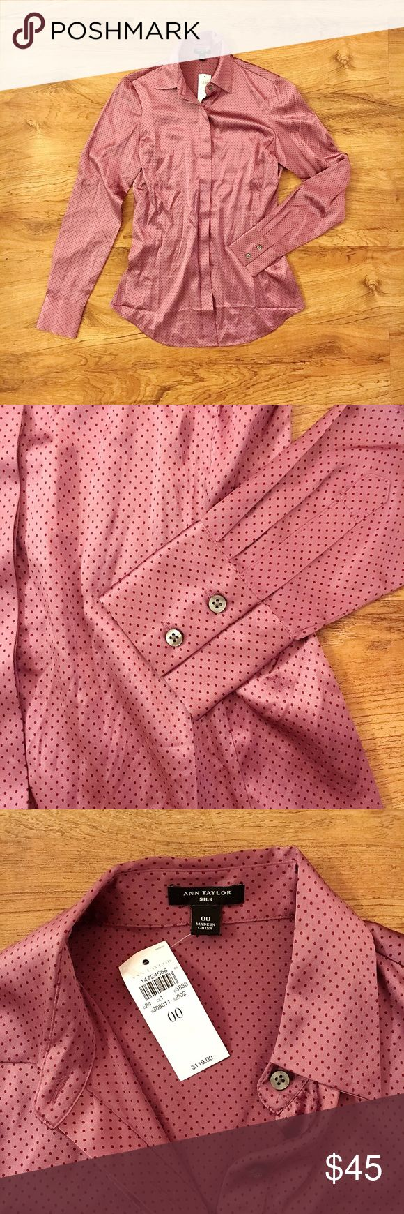 Ann Taylor Silk Button Up Blouse, Purple Polka Dot NWT, Ann Taylor 92% silk 8% spandex button up blouse, purple polka dots, grey buttons, size 00.  So soft and classy!  Perfect for the office or to dress down for a night out. Measurements: Pit to hem- 15.5 inches Across the chest- 17 inches Ann Taylor Tops Button Down Shirts