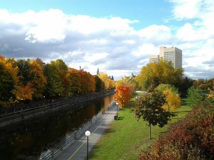 Foot bridge near Ottawa University along Rideau Canal Ottawa Ontario Canada.