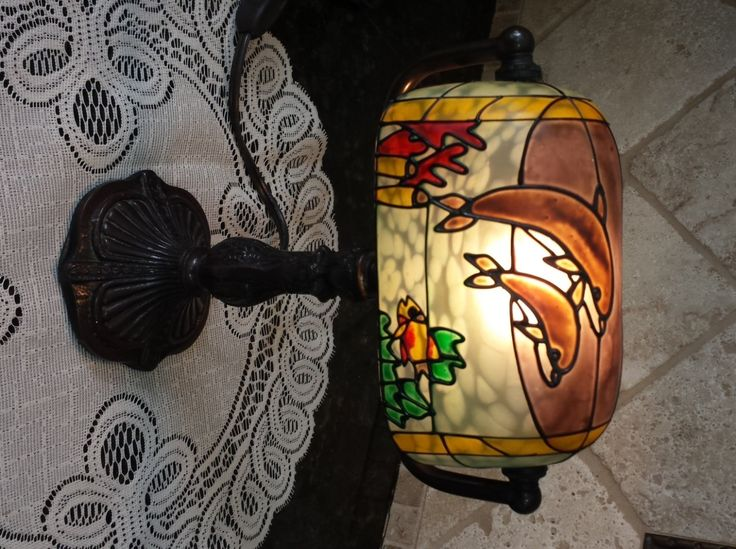 Dolfin Turtle TIFFANY Style Desk Lamp for a Beach themed home by KatsVintageTreasures on Etsy