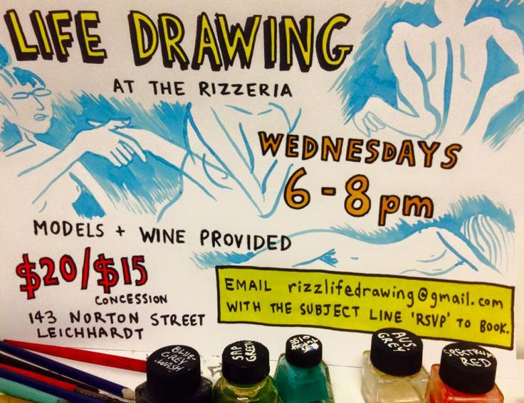 Life drawing is a great way for aspiring artists to study shape, perspective, tone, line, and the human form. Join us at The Rizzeria Wednesday nights for life drawing sessions from 6-8pm. These sessions are not instructional, but basic drawing materials, models and a glass of wine are provided. For enquiries, contact Leigh Rigozzi 0439 327 856.   Email rizzlifedrawing@gmail.com to book or see facebook.com/rizzeria/events