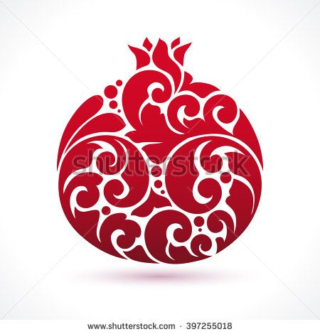 Decorative ornamental pomegranate fruit isolated on white. Vector abstract pomegranate illustration logo design element for packaging design, banner, poster, business sign, identity, branding